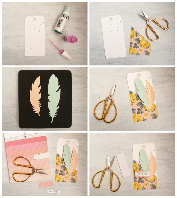 Handmade Birthday Gift Tag using Sizzix die Feather