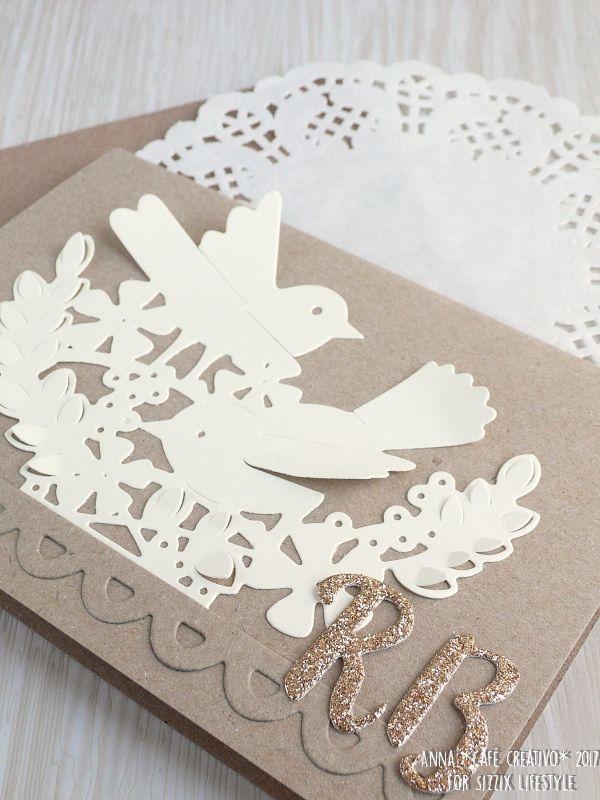 Wedding card using Sizzix Thinlits die Interlacing Birds