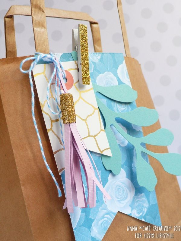 Gift bag made using Sizzix Products Tassel-tastic and Woodland Foliage