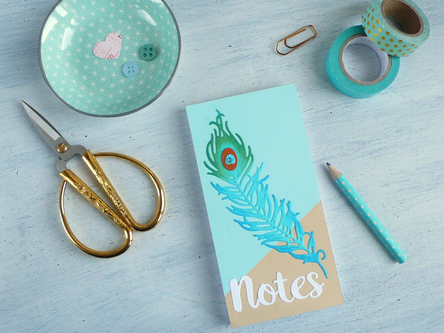 DIY Peacock Feather Notebook Cover