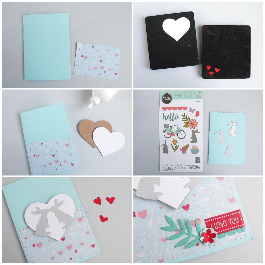 Valentine's day card Bunny Love - step by step