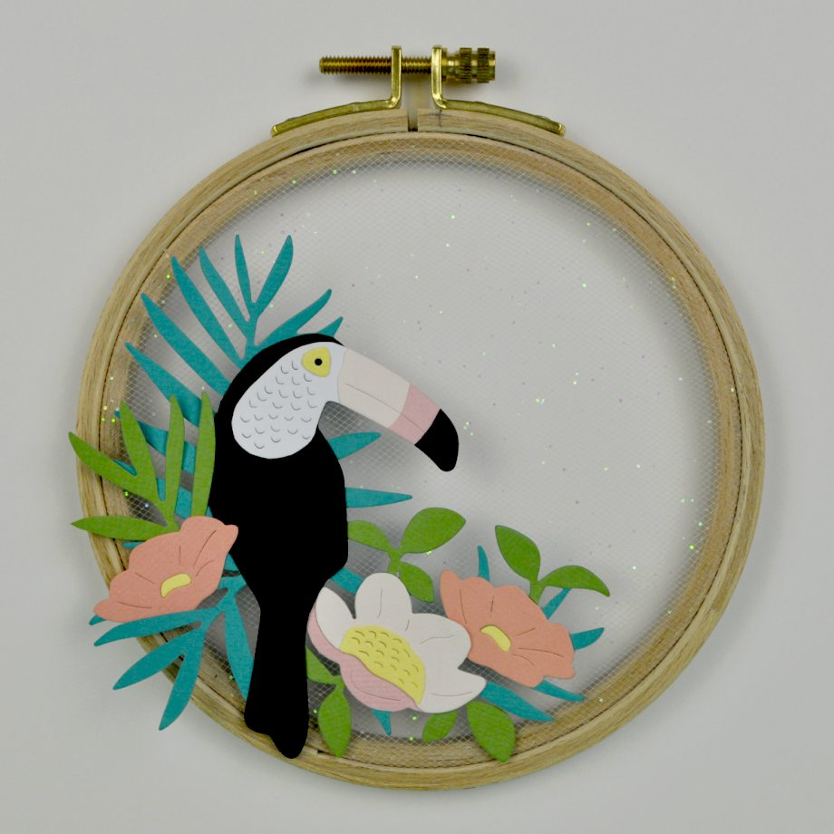 Paper Toucan Embroidery Hoop