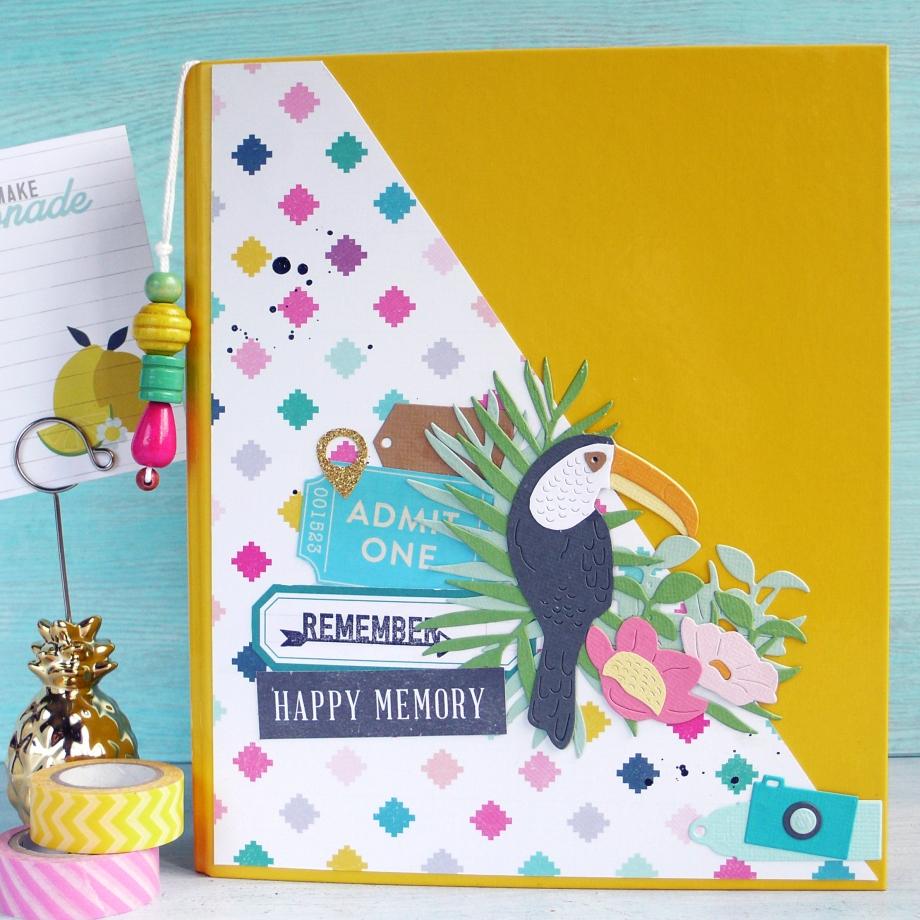 Embellishing Mini Album Cover with Tropical Bird