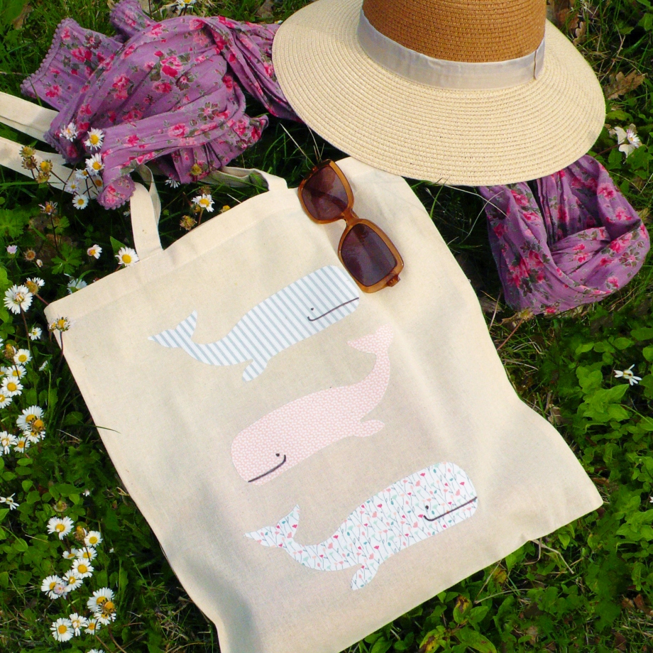 How to embellish a cotton Tote Bag with whales