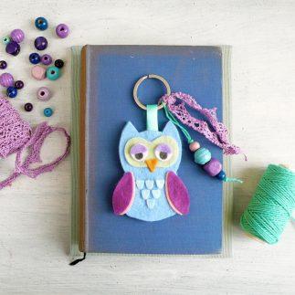 Handmade Owl Felt Keychain