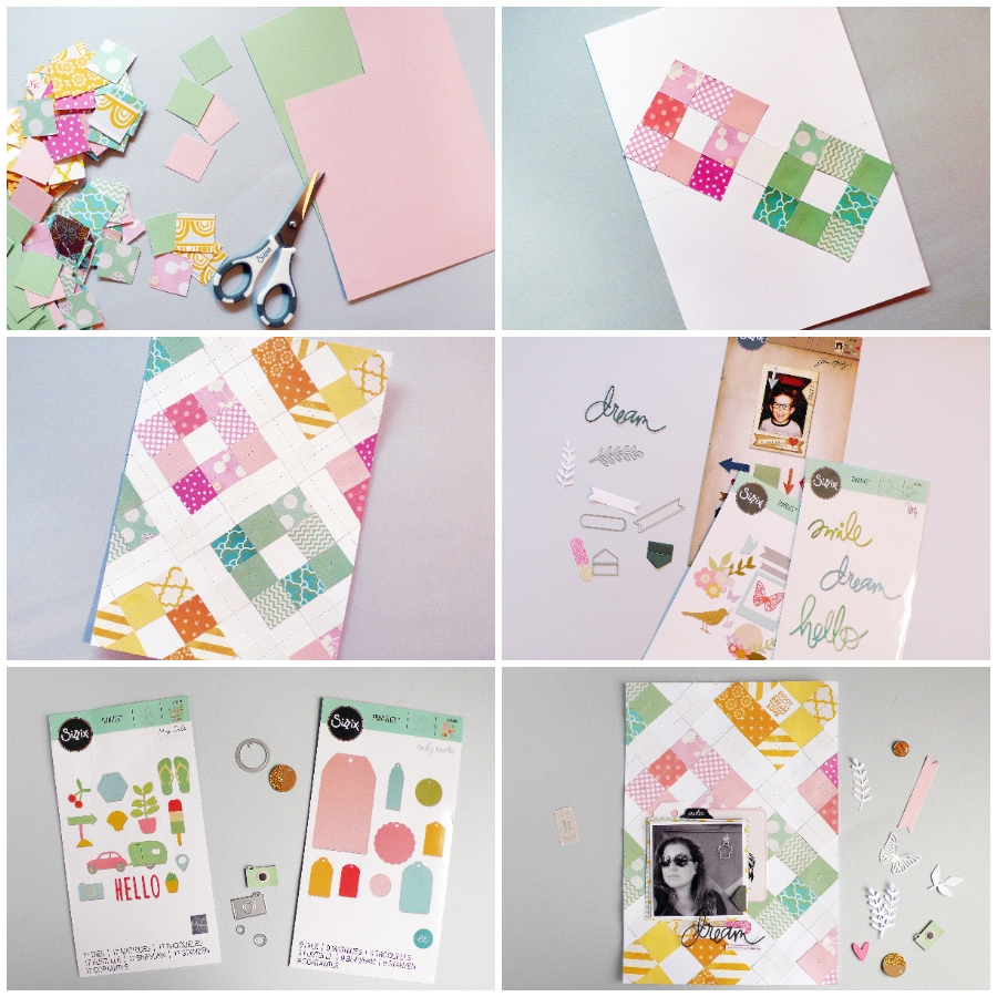 How to create a quilted style Scrapbook Layout