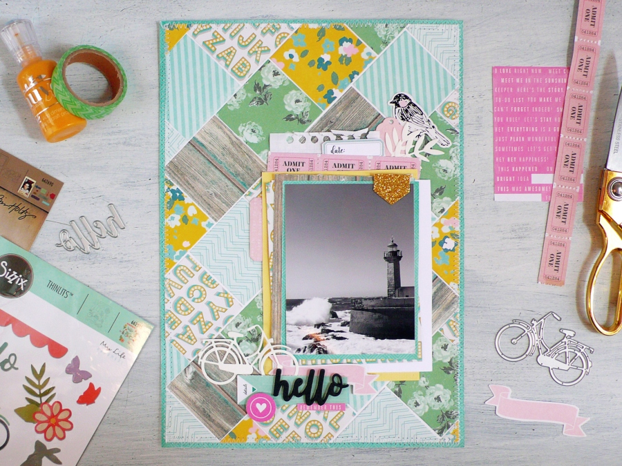 Scrapbook Layout with squares