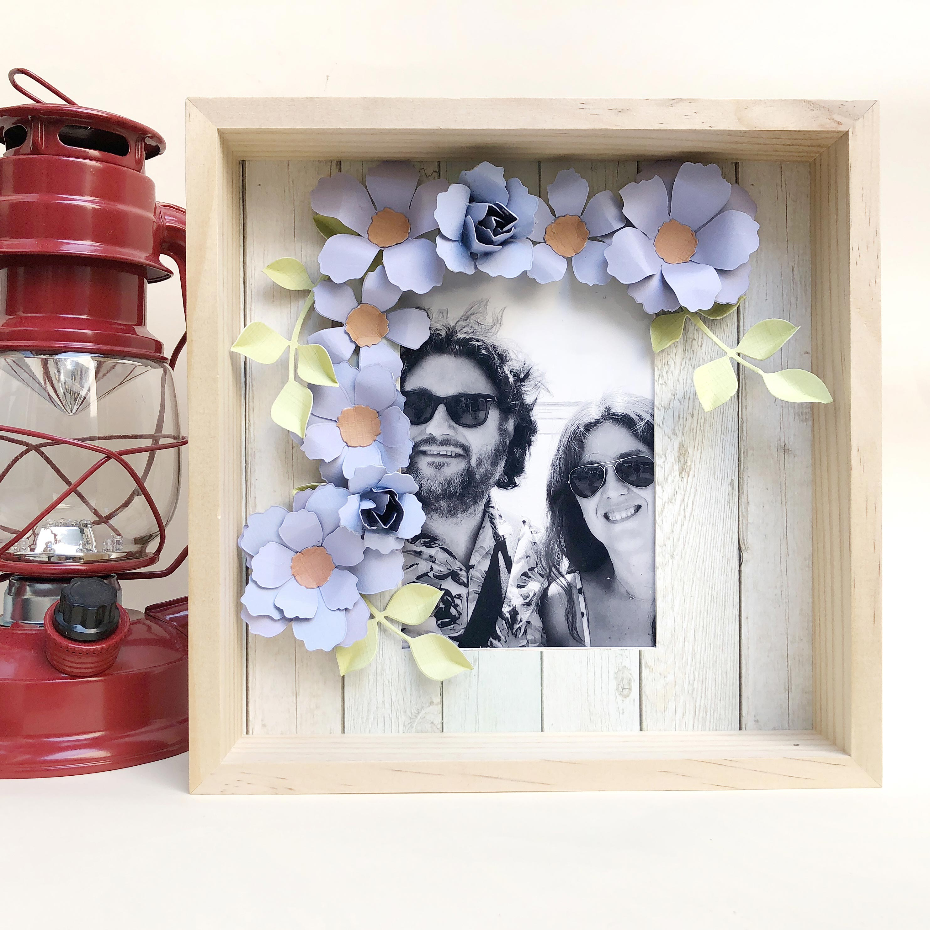 Wood and flowers frame