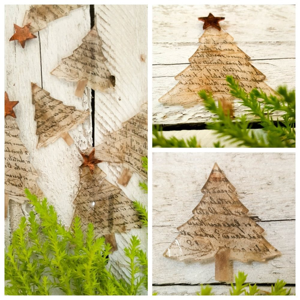 Rustic little Christmas tree ornaments that are quick and easy to make #christmasornaments #Sizzixmakes #mymakingstory
