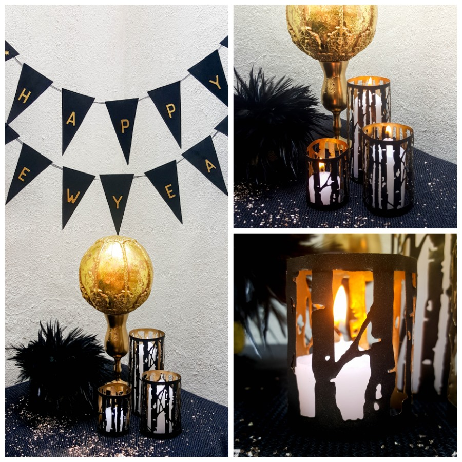 Black and gold party decor. Ring in the New Year in style with these sizzix-tastic makes #NewYearsEve #MyMakingStory #SizzixTastic #PartyDecor
