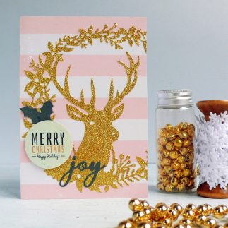 DIY Gold Glitter Christmas Deer Card