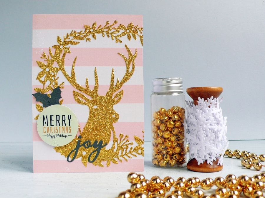 DIY Gold Glitter Christmas Deer Card