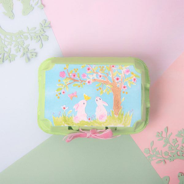 Egg Box for Easter with Bunny Scene