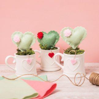 Felt Cacti Hearts