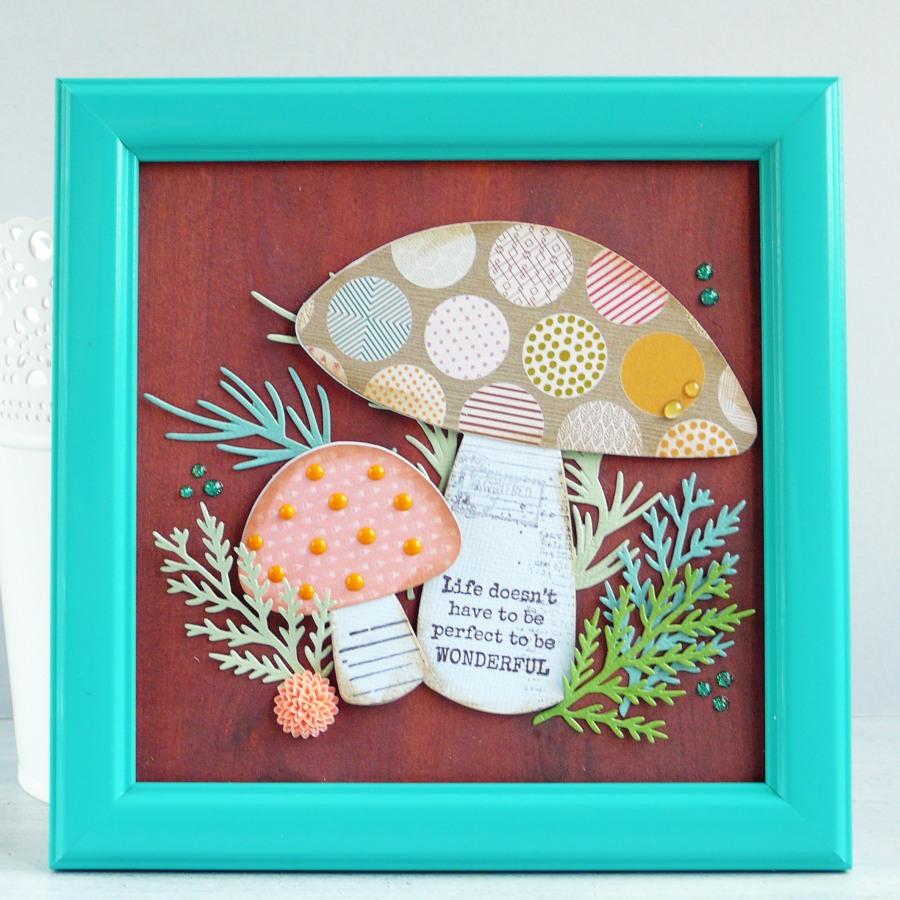 DIY frame art with Toadstool mushroom - VIDEO