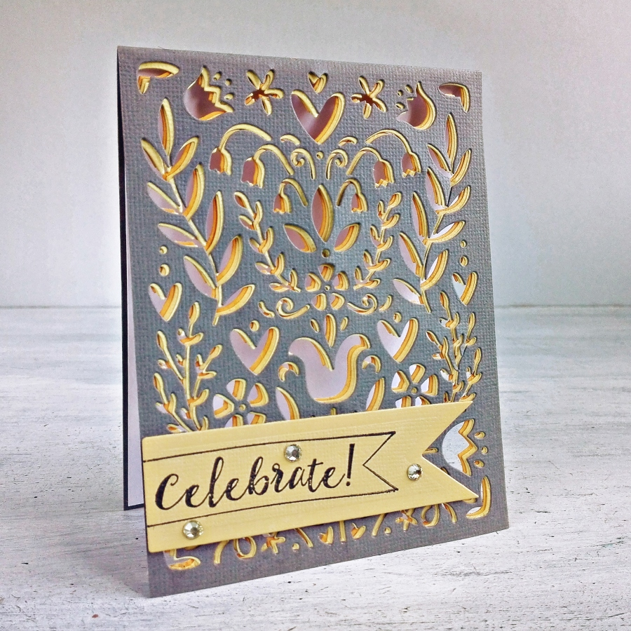 See-Through Die Cut Card with Folk Art Stencil