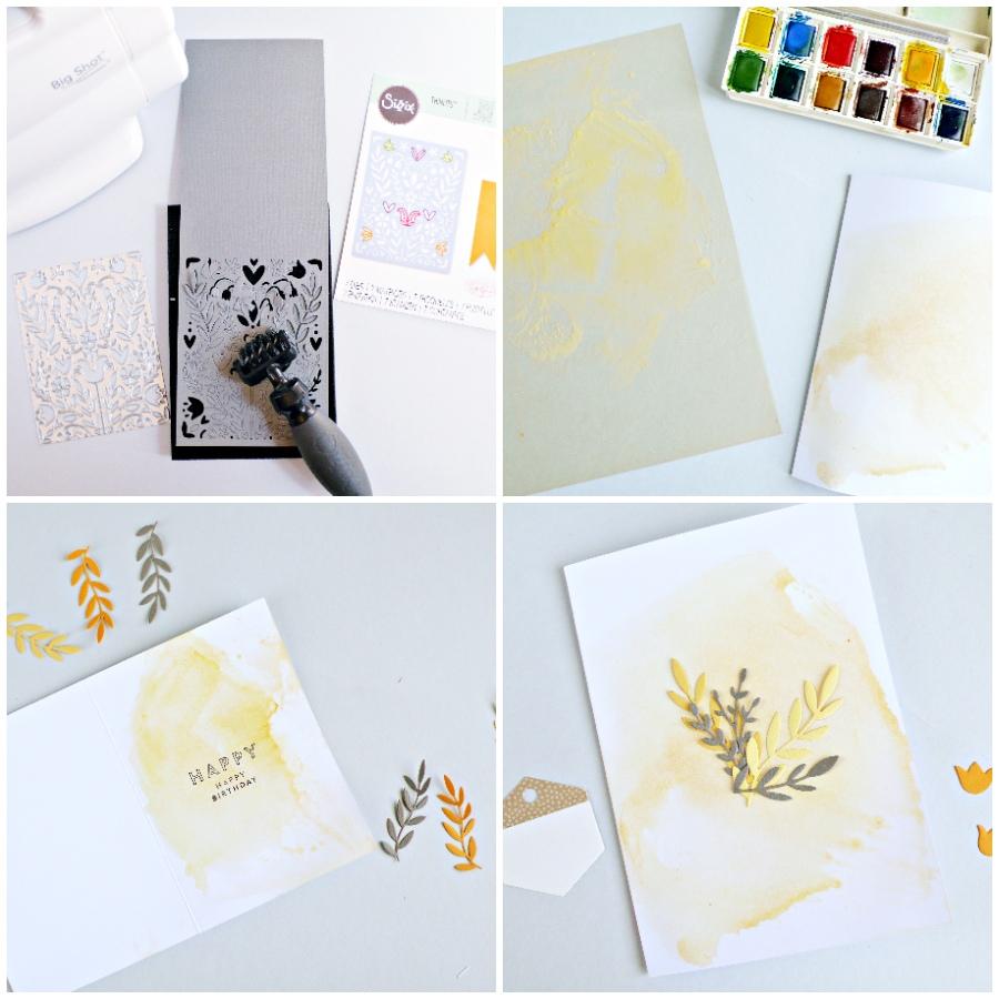 Card Set with Folk Art Stencil