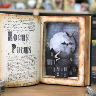 Halloween altered book decoration
