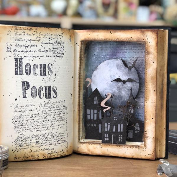 Halloween altered book decoration