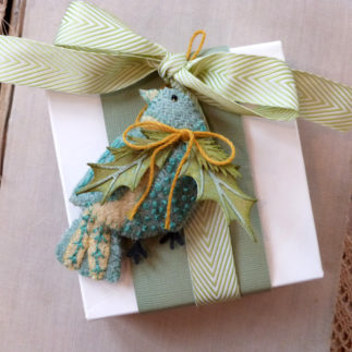 Patchwork Bird Ornament using Tim Holtz designs by Audrey Pettit Designs