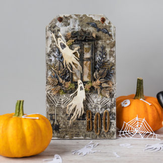 Halloween mixed media project - Using Tim Holtz dies!