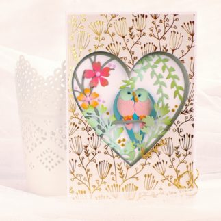 Card Love Birds Shadow Box - VIDEO