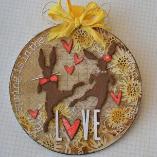 Spring Love art panel using Tim Holtz designs - by Kath Stewart