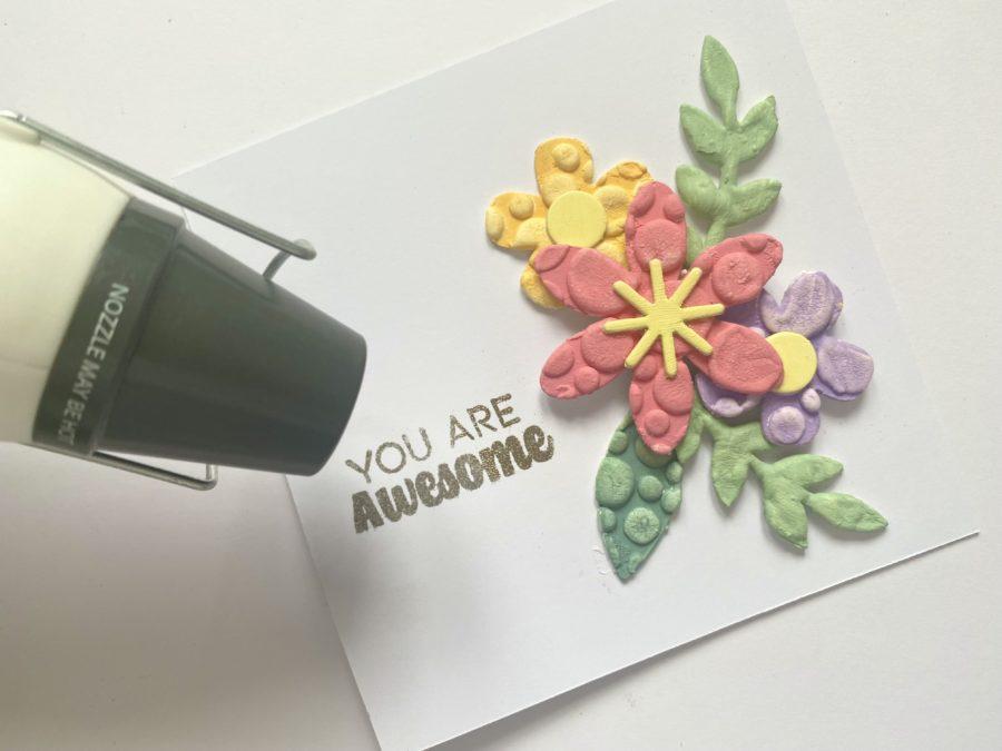 mixed media floral card