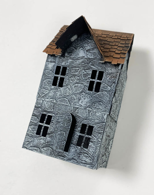 Step 6 - Paint the Roof Tiles of the House from the Village Collection Thinlits.